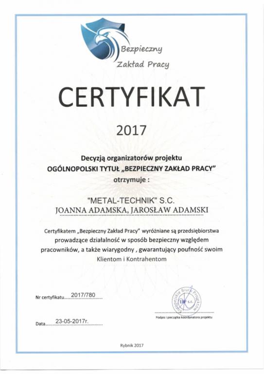 certyfikat bezpieczny zakład pracy
