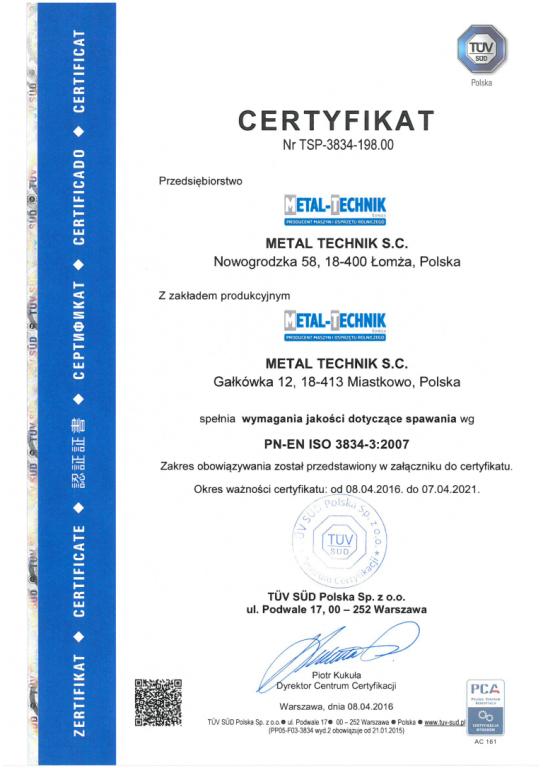 certyfikat iso 3834 3
