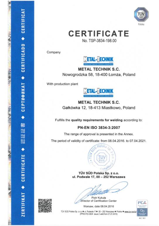 Certfikat ISO 3834