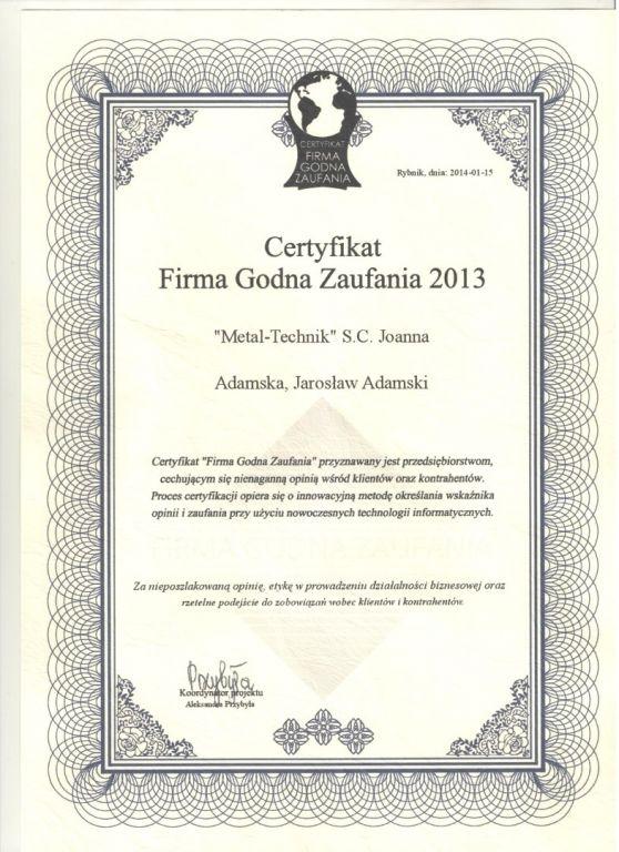 Certyfikat firma godna zaufania 2013