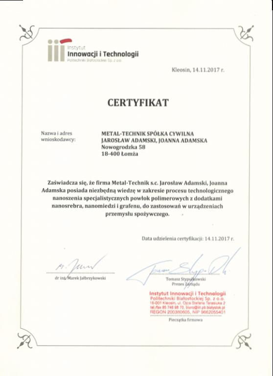 Certyfikat instytut innowacji i technologi