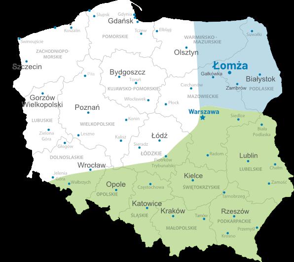Kontakt mapa regionów
